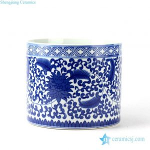 RYCI37 Blue and white floral mark tubular ceramic pot
