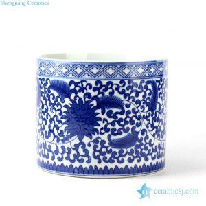RYCI37 Blue and white floral mark tubular ceramic pot