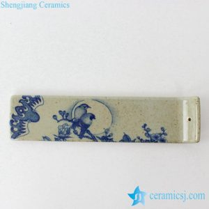 RYEJ18 Crude clay blue and white bird moon floral pattern pottery tile incense stick holder