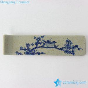 RYEJ18-B New arrival hot selling item blue white plum blossom bird mark earthen ware strip shape incenser