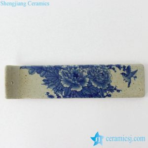 RYEJ18-C New design blue and white peony bird mark bar shape pottery burner