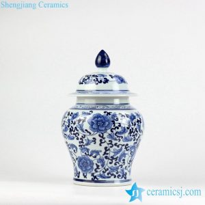 RYIG31 China traditional style blue and white interlock flower branch pattern medium ceramic candle ginger jar