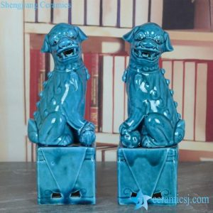 RYJZ15 Cerulean blue color glaze hot online sale pair of foo dog figurine
