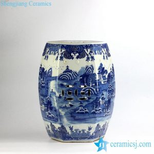 RYLU91-C 6 sides hand paint landscape pattern blue and white bathroom ceramic stool furniture