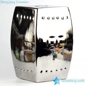 RYNQ56-B Silver gilded plain color ceramic home and garden stool