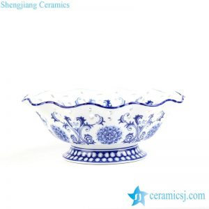 RYPU36 Popular and graceful blue and white floral wave rim porcelain fruit serving bowl