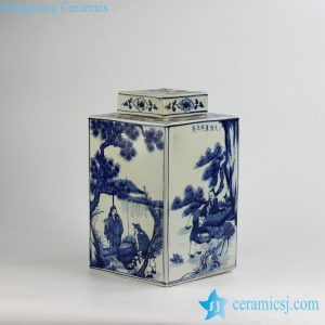 RYUK15-B Qing Dynasty Kangxi Emperor era reproduction hand paint ancient Chinese farming life pattern ceramic square blue and white jar