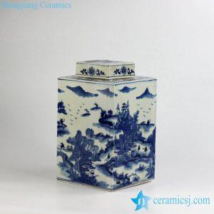 RYUK15-C Qing Dynasty Kangxi Emperor era reproduction hand paint landscape pattern ceramic square blue and white jar