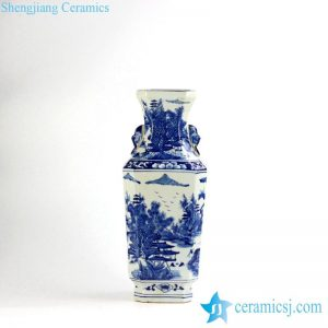 RYUK17-B Antique style hand paint landscape pattern decorative blue and white large flower vase