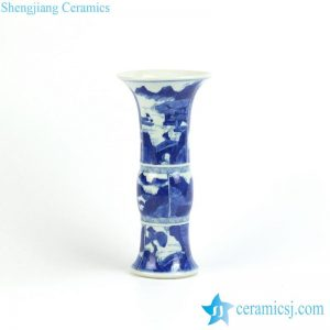 RYXN16 Trumpet vase blue and white hand paint China traditional landscape pattern