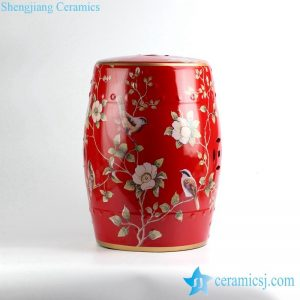 RYYL04 China red bird floral pattern golden line gilded enamel beside table seat