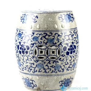 RYYV04 Crackle glaze blue and white hand paint floral pattern antiquity ceramic bathroom stool