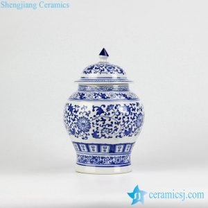 RZBG12 Hand paint blue and white hand paint floral pattern ceramic food jar