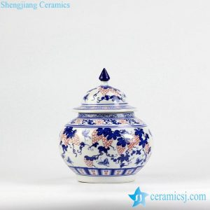RZBG13 Blue and white special under glaze red grape pattern ceramic sugar jar with candle lid
