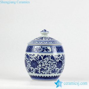 RZBV04 Hand paint blue and white floral pattern porcelain honey jar