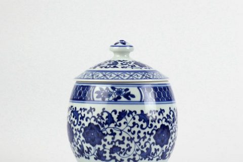 RZBV04 Hand paint blue and white floral pattern porcelain honey jar