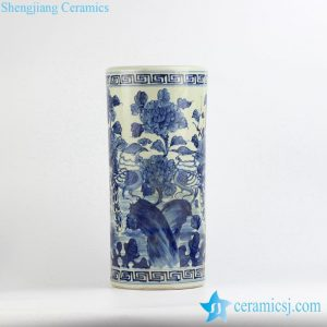 RZFH04-A Antique style hand paint blue and white bird floral pattern ceramic large tubular vase