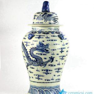 RZFH06 Antique design hand paint dragon phoenix pattern lion knob lid ceramic ginger jar