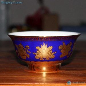 RZHU02-G/J/C/G     Gold plated anti-scald high heel bowl bottom the Chinese Eight Immortals' Treasures pattern ceramic bowl