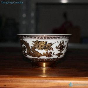 RZHU02-I/A/B/D Colorful serier golden Chinese fire dragon pattern ceramic household bowls