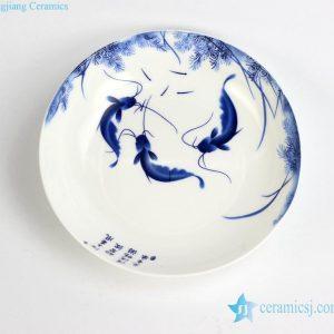 RZHY03-B Best quality fine bone china water weed fish mark round ceramic dinnerware