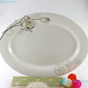 RZHY04-B Brut rose mark oval cream white bone china flan dish