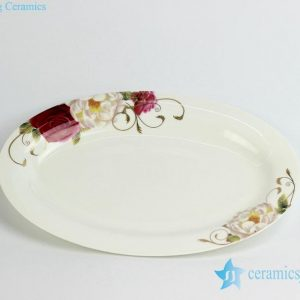 RZHY04-C High quality chinese peony mark fine bone china oval fish baking plate