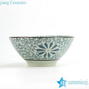 RZIO01-B Japan style floral pattern ceramic soup bowl