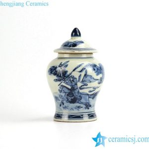RZIQ02-old Antique old style the Three Kingdom Guan Yu pattern porcelain ginger jar
