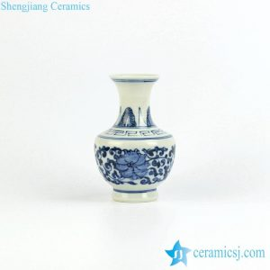 RZIQ04 Hand paint under glaze blue small pottery flower vase
