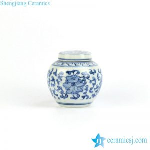 RZIQ05 Oriental traditional style flower interlock branch pattern flat lid pottery tiny urn