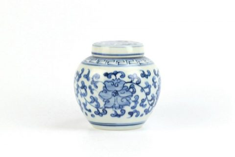 RZIQ05 Oriental traditional style flower interlock branch pattern flat lid pottery tiny urn