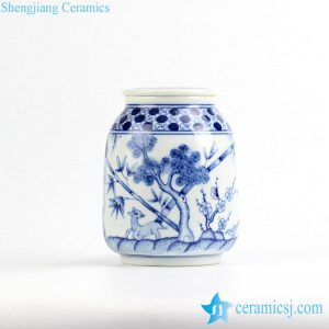 RZIR01 Japan style hand paint forest pattern ceramic flat lidded portable mason jar