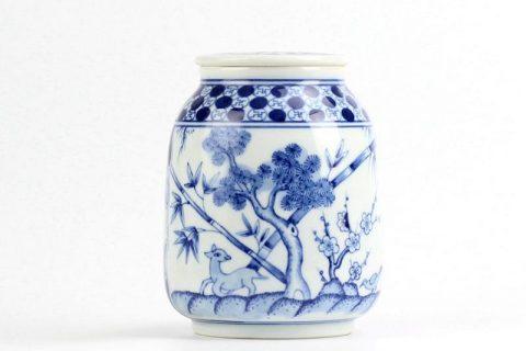 RZIR01 Japan style hand paint forest pattern ceramic flat lidded portable mason jar