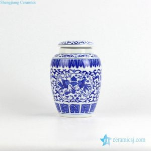 RZIX01 Blue and white fish lotus pattern ceramic storage/sugar/tea/mini jar