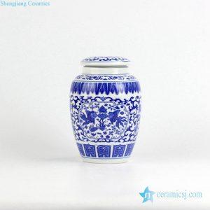 RZIX01 Blue and white fish lotus pattern ceramic storage/sugar/tea/mini jar