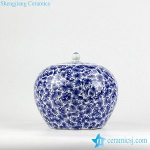 RZIX02   Blue and white promotional ceramic cookie jar