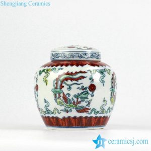 RZIZ01 Contrasting color blue and white doucai porcelain hand paint phoenix pattern ceramic flat lid storage urn