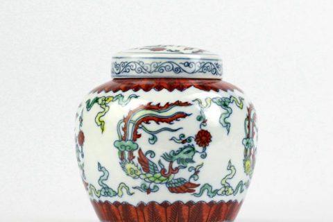 RZIZ01 Contrasting color blue and white doucai porcelain hand paint phoenix pattern ceramic flat lid storage urn