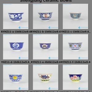 RYHZ11-a/b/c/d/e/f/g/h/i/g/k/l/m Graceful different types of pattern ceramic personal bowls