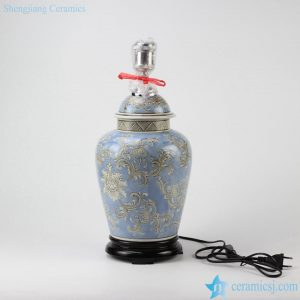 DS83-RYPU35 Online sale exotic light blue floral pattern ceramic table lamp