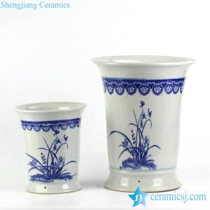 RYIQ28-B Blue and white orchid pattern durable ceramic pair planter to buy online