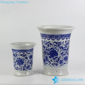 RYIQ28-D Blue and white porcelain curled top rim porcelain outdoor couple ceramic pots for plants