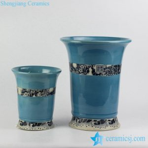 RYIQ28-c New arrival sky blue color glazed curled rim porcelain ceramic plant pot in pairs