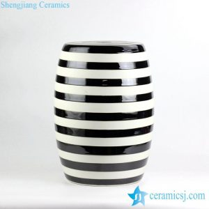 RYIR116 Black and white stripe glazed ceramic garden seat stool