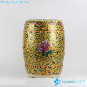 RYKB141-A/B/C/D Peony butterfly pattern royal colorful series of ceramic drum stools