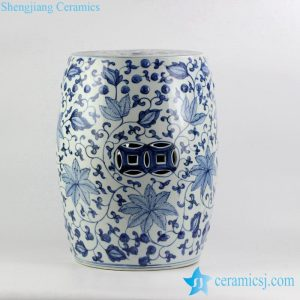 RYNQ192 Handicraft blue and white ceramic floral pattern drum stool