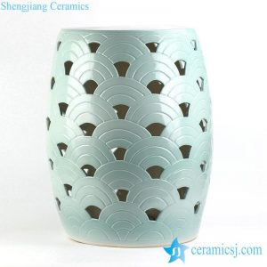 RYNQ193 Hot sale mint green ocean feeling scale engraved pattern pierced bathroom unique ceramic stool