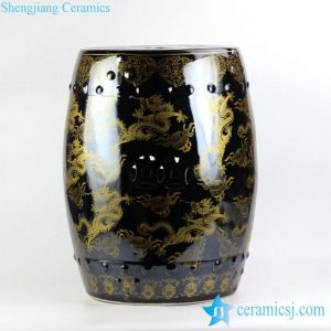 RYNQ194 Large stool in black mirror glaze golden fire dragon pattern porcelain drum stool