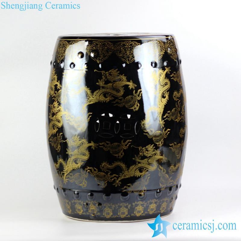 Under Black Mirror Glaze Golden Fire Dragon Pattern Jingdezhen China  Original Ceramic Patio Stool